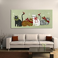 Christmas Decoration Stretched Canvas Print Art Cartoon Four Lovely Christmas Cats by Beverly Johnston