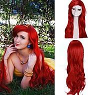 rouge foncé bouclés petite princesse sirène Ariel cosplay perruque synthétique des femmes extra long