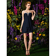Short/Mini Chiffon Bridesmaid Dress - Dark Navy Plus Sizes / Petite Sheath/Column Sweetheart