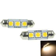 39MM(SV8.5-8) 2W 3x5054SMD 120-160LM 3000-3500K Warm White Light Led Bulb for Car License plate  Lamp 2PCS (DC12-16V)