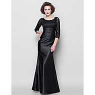 Trumpet/Mermaid Plus Sizes Mother of the Bride Dress - Black Floor-length 3/4 Length Sleeve Lace/Stretch Satin