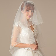 Beautiful One Layer pearl Wedding Veil with  Pencil Edge