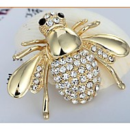4.8*3.3 European Bee Alloy and Rhinetone Brooches (1pc)