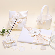 Shiny Flower Sets(Set Of Four ,Pen Holder, Book,Ring Pillow,Flower Baskets Is Included)