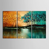 Ručně malované Krajina Tři panely Plátno Hang-malované olejomalba For Home dekorace