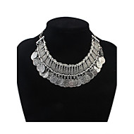 Women's Ethnic Vintage Coins Tassel Layers Bib Statement Necklace