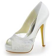 בלרינה\עקבים - נשים - נעלי חתונה - נעלים עם פתח קדמי / עקבים / פלטפורמה - חתונה - שנהב / שמפניה / לבן
