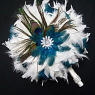 día de la boda manera de la pluma azul y blanco ramo de la boda nupcial fp-502