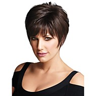 Capless Short Brown Human Hair Wigs