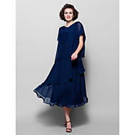 A-line Plus Sizes / Petite Mother of the Bride Dress - Dark Navy Tea-length Short Sleeve Chiffon