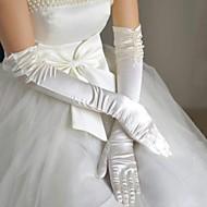 satin bout des doigts la longueur d'opéra gants de mariée avec fronces (plus de couleurs)