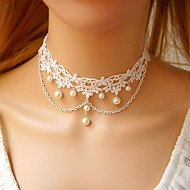 Vintage Graceful White Pearl Pendant Collar Choker Necklace for Women