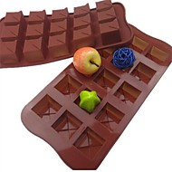 15 jamkové čtvercový tvar dort ice želé čokoládové formy, silikonové 21 × 10,5 × 2,5 cm (8,3 × 4,1 × 1.0inch)