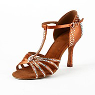 Non Customizable Women's Dance Shoes Latin/Salsa Satin Flared Heel Brown