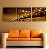 e-Home® sträckt ledda kanvastryck konst natten under bron flash effekt ledde set om 3