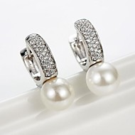 Huggie Earrings Women's Brass Earring Pearl