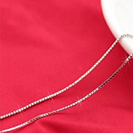 925 Sterling Silver Women's European Style Box Chain Fashion Sterling Silver Necklace