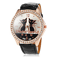 Women's Big Round Diamante Case Cat Pattern Dial PU Band Quartz Wrist Watch (Assorted Colors) Cool Watches Unique Watches Fashion Watch