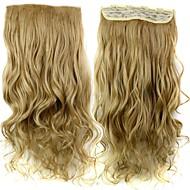 קליפ 24 120g אינץ 'חום ארוך עמיד סיבים סינטטיים חוליים בלונדינית מתולתל בתוספות שיער עם 5 קליפים