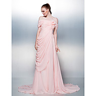 Dress - Candy Pink A-line Off-the-shoulder Court Train Chiffon