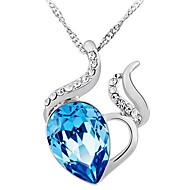 Ladies' Silver Heart Crystal Pendants