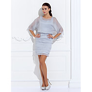 Sheath / Column Plus Size / Petite Mother of the Bride Dress - Wrap Included Short / Mini 3/4 Length Sleeve Chiffon with Beading