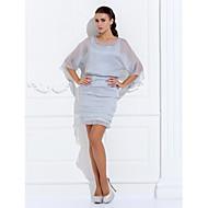 Lanting Sheath/Column Plus Sizes / Petite Mother of the Bride Dress - Silver Short/Mini 3/4 Length Sleeve Chiffon