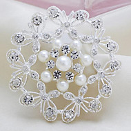 Women's Fashion Hit New Style Pearl Silver Alloy Rhinestone Brooches