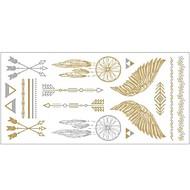1szt złoty i srebrny metaliczny naszyjnik bransoletka tatuaż naklejek