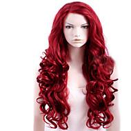 capless rød ekstra lang høj kvalitet naturlige krøllet syntetisk paryk