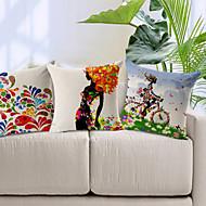 Набор из 3 красочные картины хлопок / белья Декоративные подушки крышки