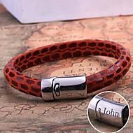 personlig gave læder reb armbånd i rustfrit stål indgraveret smykker