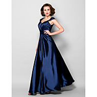 A-line Mother of the Bride Dress - Dark Navy Floor-length Sleeveless Stretch Satin/Lace
