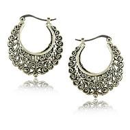 Tribal Ethnic Tibetan Silver Carving Earrings for Women