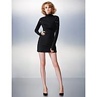 Cocktail Party Dress - Black Plus Sizes / Petite Sheath/Column High Neck Short/Mini Jersey