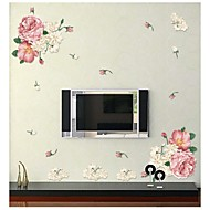 Wall Stickers Wall Decals, Style Peony Flower PVC Wall Stickers