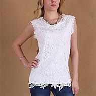 kvinnors rund hals spets skjorta, blandar bomull ärmlös