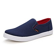 Men's Spring / Summer / Fall / Winter Round Toe Canvas Casual Flat Heel Black / Blue