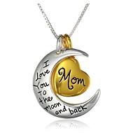 mamma del cuore della moda e luna ciondolo collana pendente in lega d'argento (1 pc)