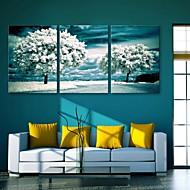 e-home® esticado árvores da arte da lona na neve set decoração pintura de 3