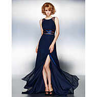 Homecoming Prom/Formal Evening Dress - Dark Navy A-line Jewel Sweep/Brush Train Chiffon