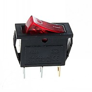 Interruptor-3 pinos da ficha 2-passos roqueiro com a luz (15-A / 250v 20a / 125V AC) - (5pçs)