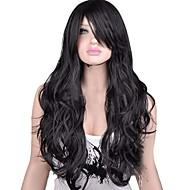 sin tapa extra negro natural, peluca sintética rizada larga de alta calidad