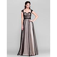 신부 들러리 드레스 - 블랙 시스/컬럼 바닥 길이 스위트하트 명주그물