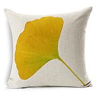 žlutý ginkgo list bavlna / len dekorativní polštář kryt