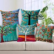 סט של 5 כותנה עץ פרח יפה / כיסוי כרית נוי פשתן