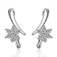 lureme®Fashion Style Silver Plated With Zircon Crescent And Flowers Shaped Stud Earrings