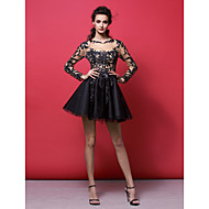 Homecoming Cocktail Party Dress - Black A-line/Princess Jewel Short/Mini Tulle