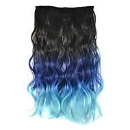 18 polegadas corpo mulheres clipe ondulado azul gradiente de preto postiços extensões sintéticas