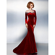 TS Couture Formal Evening Dress - Burgundy Plus Sizes / Petite Trumpet/Mermaid Jewel Court Train Velvet